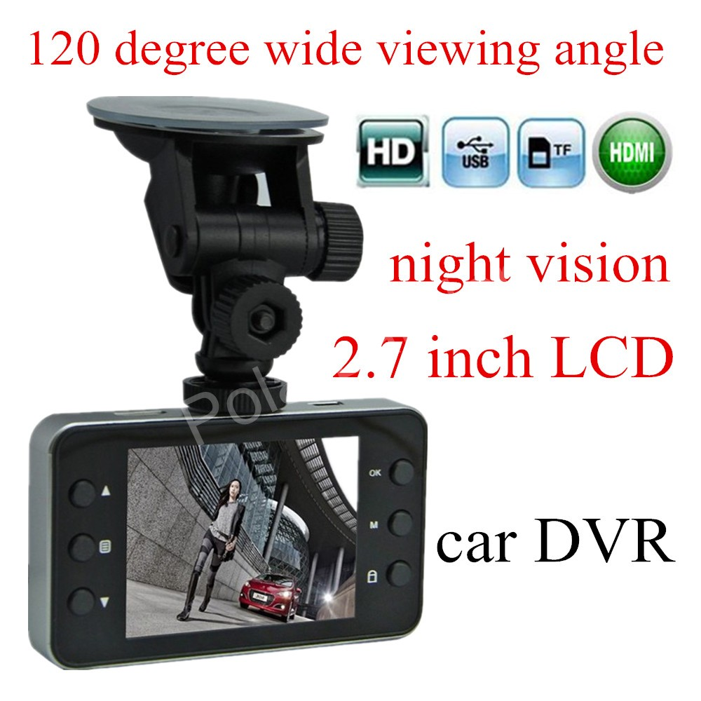 free shipping K6000 car DVR camera HD 2.7 inch LCD Vehicle Video Recorder G-Sensor 120 degree wide viewing angle night vision