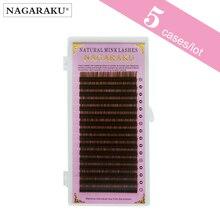 NAGARAKU חום ריסים בודדים ריס 5 מקרי הרבה חום צבע באיכות גבוהה טבעי סינטטי מינק פו Cils שווא ריסים