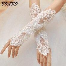 Women Fingerless Bridal Gloves Elegant Short Paragraph White Lace Appliqued Beads Sequins Gloves 2019 Cheap Wedding Accessories