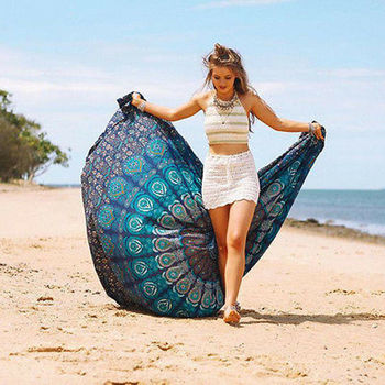New Beach Towel Round Folding Wall Hanging Quick-Dry Throws Mandala Outdoor Picnic Mat Peacock Camping Carpet Swimming Towels