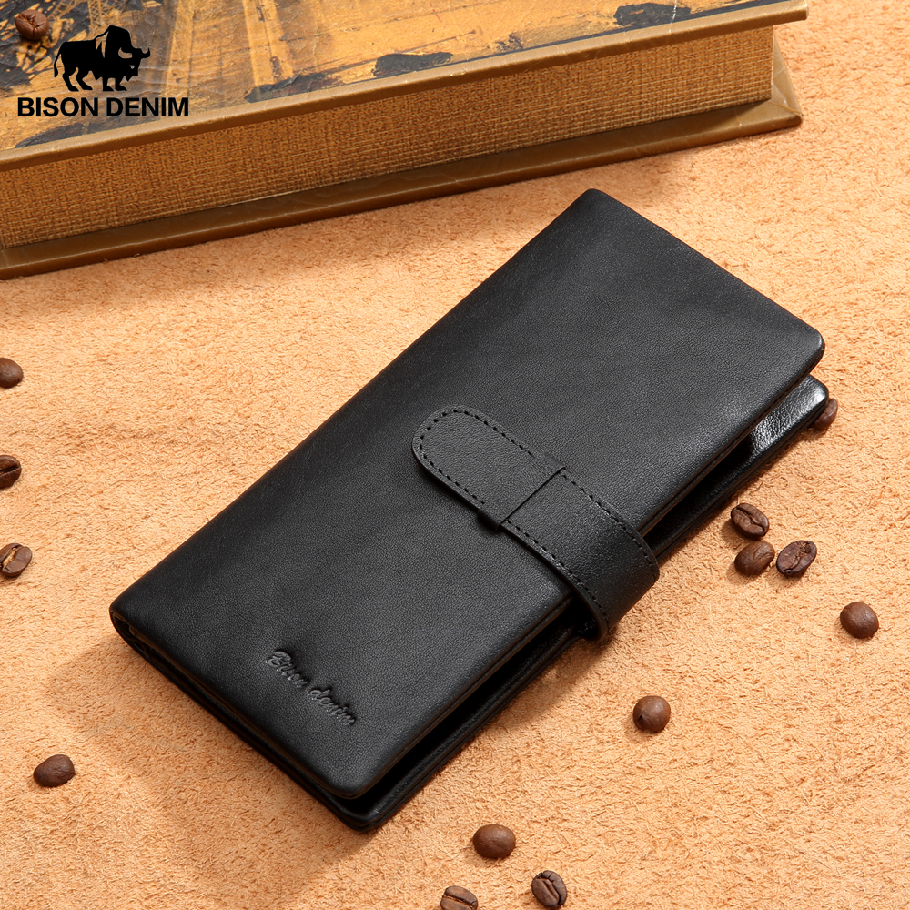 BISON DENIM New Genuine Leather Long Wallet Men Business Brand Male Hasp Purse Card Holder Coin Pocket Clutch Wallet N8211