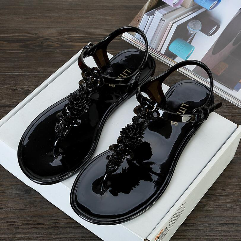 SLHJC Jelly Sandals Women Summer Shoes Flat Heel Durable Wear Flats Beach Sand Soft Thong Shoes With Flowers