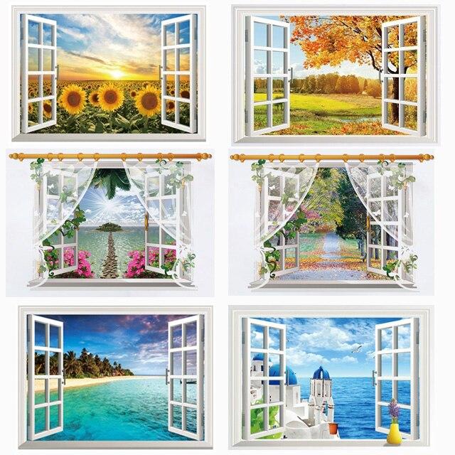 Knstliche Fenster Aufkleber Geflschte Tapete Garten Landschaft Wandaufkleber Home Party Dekoration Selbstklebende FilmChina