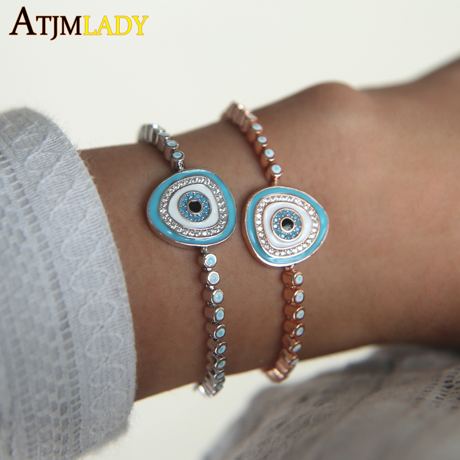 Charm AAA+blue zirconia High quality enamel turkish evil eye tennis chain silver rose gold color fashion girl slider bracelet