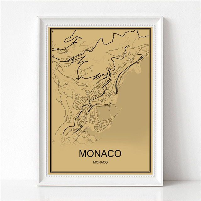 World Map MONACO Vintage Poster Krafts Paper Retro Painting Art Wall Picture Living Room Cafe Bar