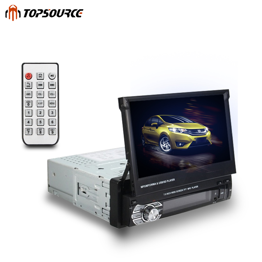 Car Stereo audio Radio Bluetooth 1DIN 7 HD Retractable Touch Screen Monitor DVD MP5 FM USB Player Rear View Camera DVD Player