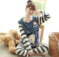Winter  Autumn Pregnant Woman Pajamas Postpartum Breastfeeding Month Of Serving Lapel Clothes Long-sleeve Sleepwear Suits Bear