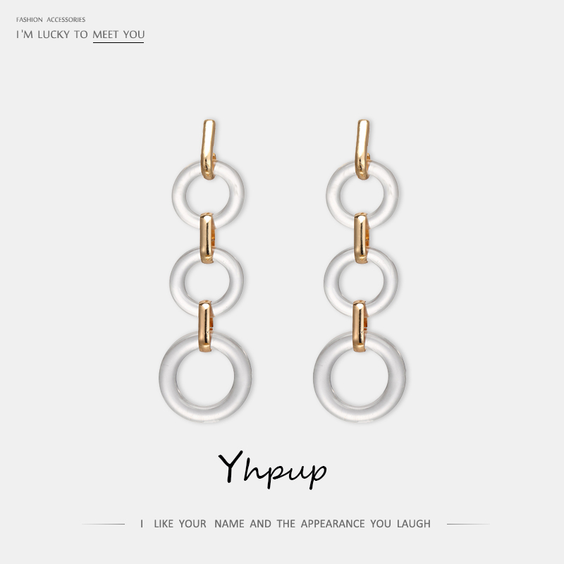 Yhpup Trendy Transparent Acrylic ZA Geometric Dangle Earring Long Personality pendientes mujer moda 2019 for Women Party Jewelry in Drop Earrings from Jewelry Accessories