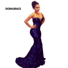 Sexy Sweetheart Sleeveless Empire Floor-Length Sequined Evening Dresses Mermaid Prom Gowns DGE015