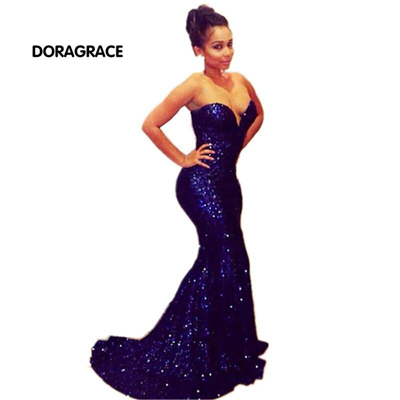 Sexy chérie sans manches Empire étage longueur paillettes robes de soirée sirène robes de bal DGE015
