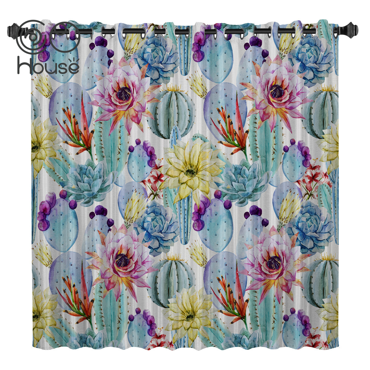 COCOHouse Plant Cactus Flower Room Curtains Large Window Living Room Curtain Rod Blackout Bathroom Outdoor Kitchen Drapes Decor