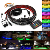 OKEEN 2X120cm RGB LED Strip Under Car Tube Underbody Underglow Glow System Neon Light Remote Car styling