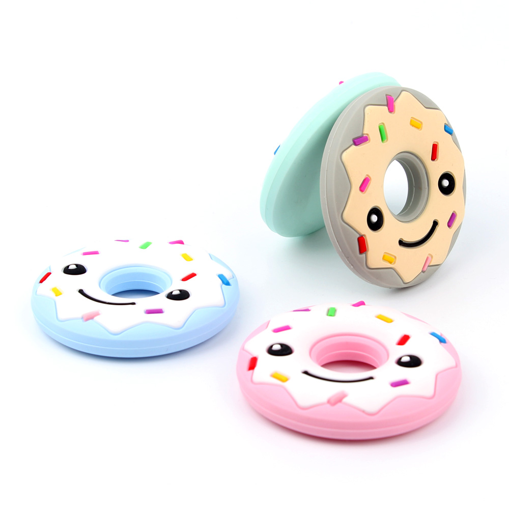 TYRY.HU Donuts Silicone Teether baby Teething Toy beads DIY chew Necklace Pacifier Chain Pendant Food Grade Silicone BPA Free best bpa free food grade diy silicone baby chew beads teething necklace nursing jewelry chewable teether for mom mun to wear