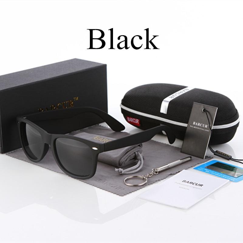 Image BARCUR Fashion Polarized Sunglasses Classic Men Retro Rivet Shades Brand Designer Sun glasses UV400