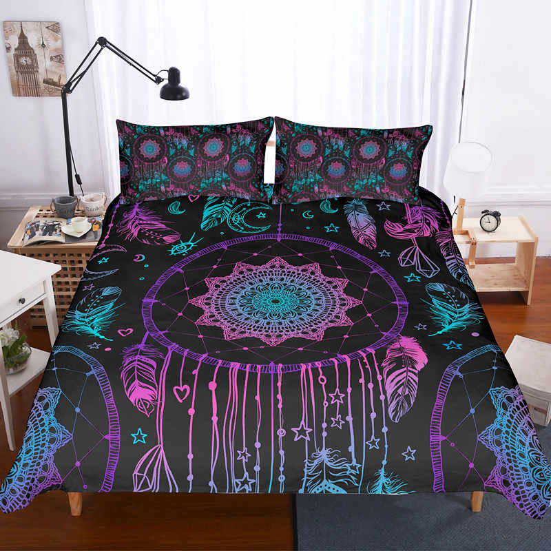 Fanaijia 3d feather Dreamcatcher king size bedding set luxury boho Duvet Cover Bohemian Bed Set Bedclothes full size bed set