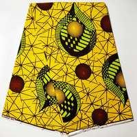 Yellow Soft Veritable Wax Guaranteed Real High Quality 100% cotton ankara African Wax Fabric Print For Sewing Dress 6yards