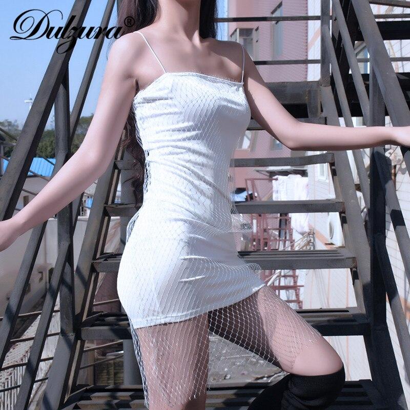 Dulzura frauen kleider netze mesh-armband 2018 winter diamant party kleid solide bling glitter sexy kleidung Weihnachten club weibliche neue