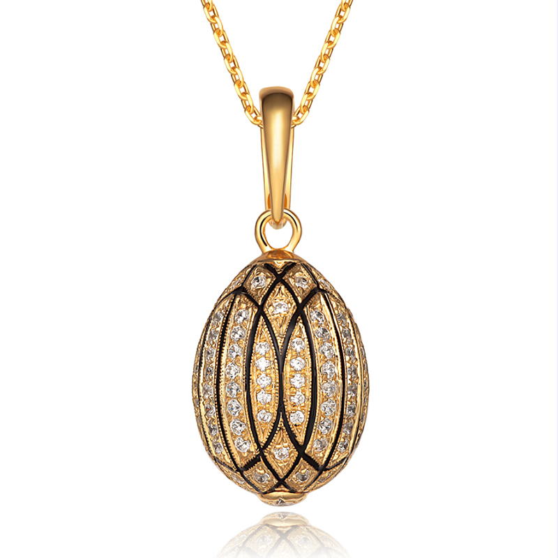 YAFFIL Women Luxury Necklace Really 925 Sterling Silver Fully Zircons Vintage Egg Pendant Crystal Rhinestone Necklaces 63003G luxury 925 sterling silver rhinestone torques for women big crystal pendant necklace silver plated banquet costume necklace