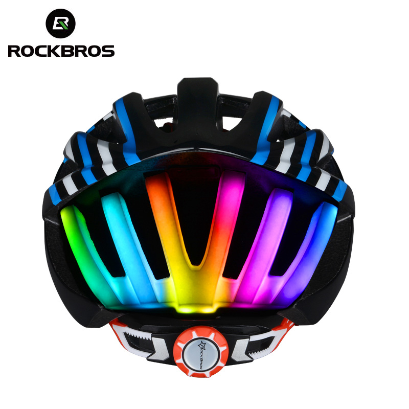 ROCKBROS MTB Road Cycling Helmet Women Men Integrally-molded Ultralight In-mold Bicycle Helmet With Tail Light Ciclismo 4 Colors mountain dh cycling helmet mtb down hill bicycle helmet ultralight women men in mold bike helmet casco ciclismo