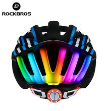 ROCKBROS MTB Road Cycling Helmet Women Men Integrally-molded Ultralight In-mold Bicycle Helmet With Tail Light Ciclismo 4 Colors