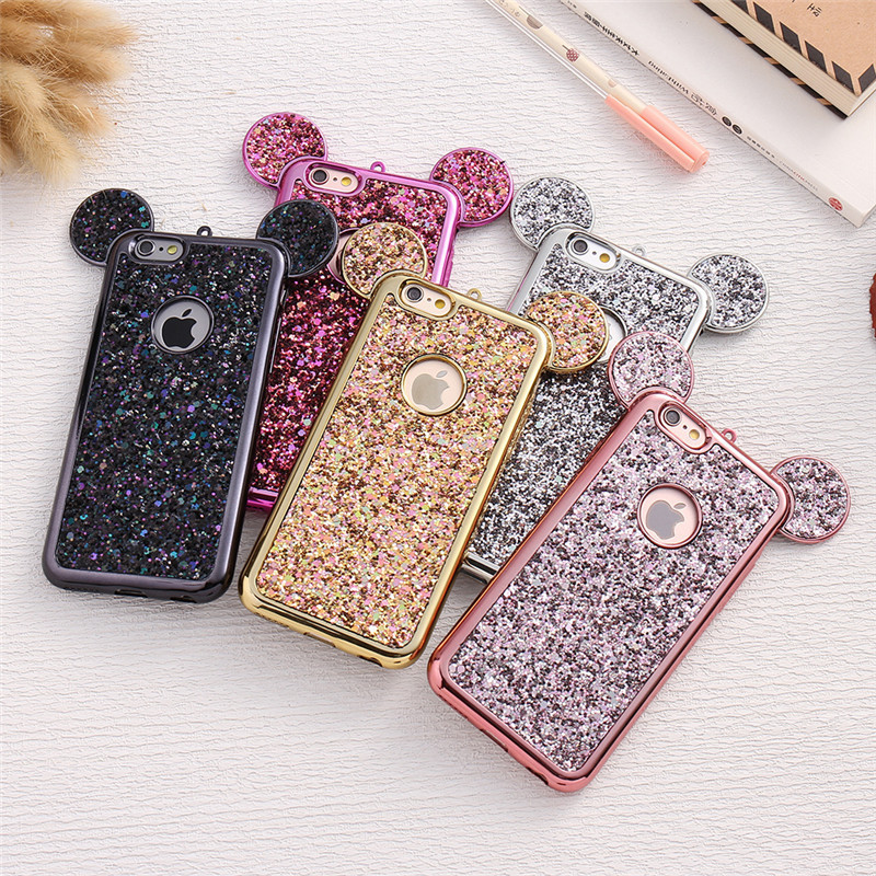 3D Luxury Minnie <font><b>Mickey</b></font> Mouse Ears Case For <font><b>iPhone</b></font> X XS MAX XR Plating Case For <font><b>iPhone</b></font> <font><b>6</b></font> 6S 7 8 Plus Bling Glitter Cover <font><b>Coque</b></font> image