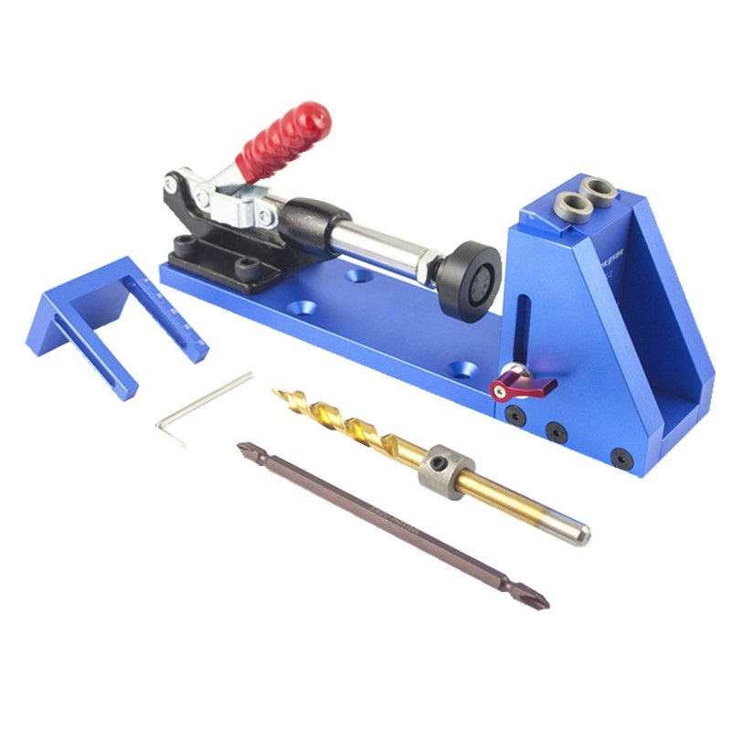Woodworking Guide Carpenter Kit System,inclined hole drill tools,clamp base Drill Bit Kit System,Pocket Hole Jig Kit woodworking tool pocket hole jig woodwork guide repair carpenter kit system with toggle clamp and step drilling bit kreg type