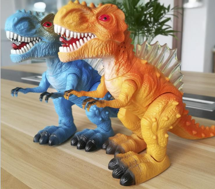 Juguetes eléctricos de dinosaurio para niños, simulación de sonido luminiscente, juguete de plástico de animales