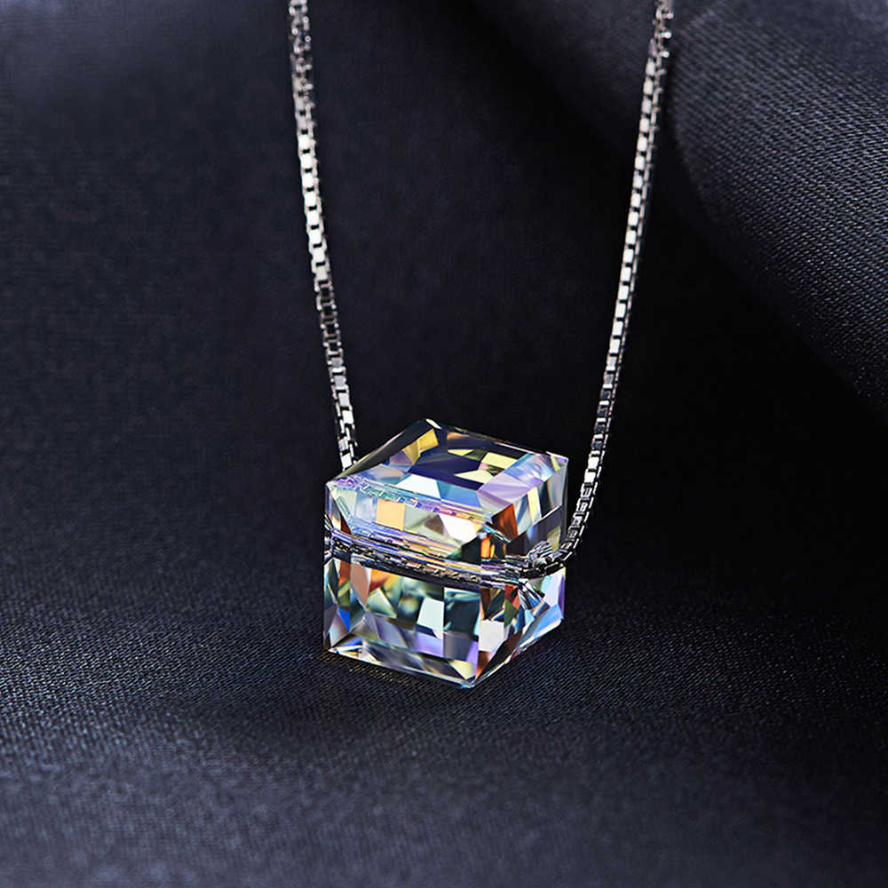 MALANDA Crystal From Swarovski Square Beads Pendants Necklaces For Women Fashion Silver Chain Necklaces Wedding Party Jewelry