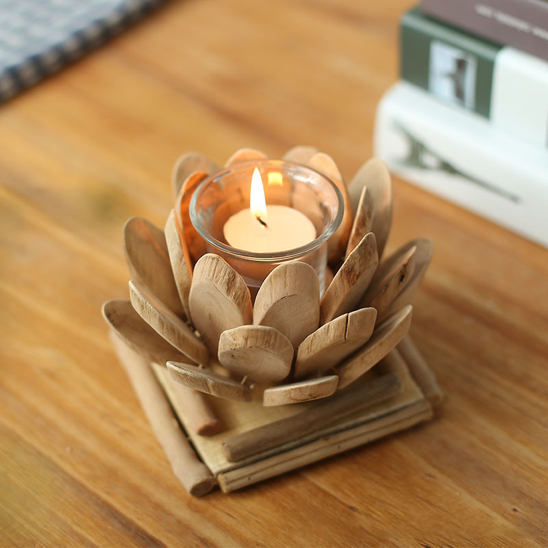 1pc Wooden Handmade Lotus Flower Candle Holder Tealight Candlestick Festival Religious Wedding Candleholder Ornament Gift