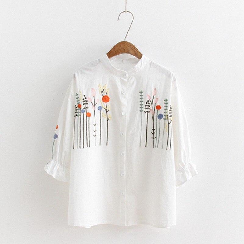 À Stand Blusas Gris Blouse Broderie Col Tops Manches Chic Chemises Rétro Bureau Floral Femmes Longues Vintage Porter Femme blanc 2019 f8qTXT