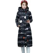Winter Jacket Women Winter Coat Long Women Wadded Jackets Plus Size 2016 New Long Parka Glasses Pattern Cotton-Padded Down Coats