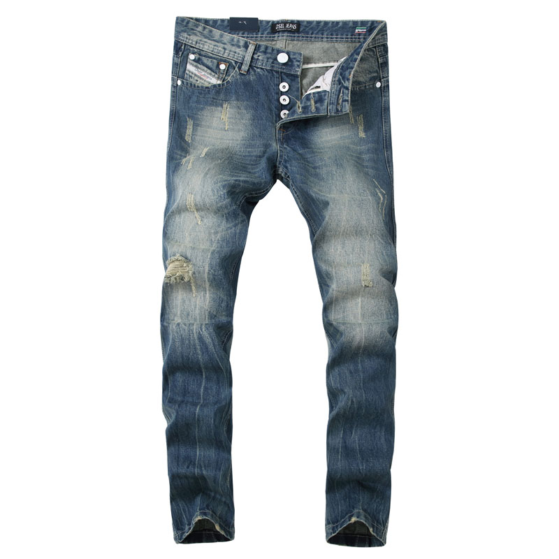2017 New Hot Sale Fashion Men Jeans Dsel Brand Straight Fit Ripped Jeans Italian Designer Distressed Denim Jeans Homme!982-1 2017 new original high quality dsel brand men jeans straight fit distressed ripped jeans for men dsel brand jeans home 604 a