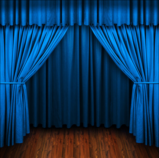 Stage props blue curtains brown wooden floor background - Cortinas para escenarios ...