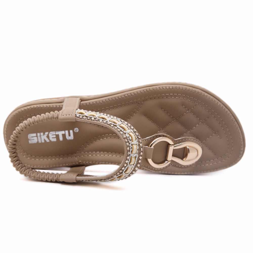 SIKETU nouvelles femmes bohême plat sandales chaussures femme chaîne perle flip flop métal décoration plage sandales chaussures décontractées taille 35-45