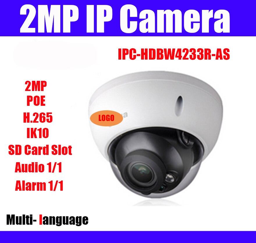 original 2MP IPC HDBW4233R AS 1080P H 265 Multi language Dome IP Camera IR 50m Vandalproof
