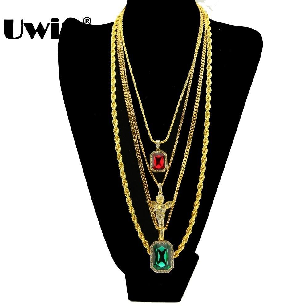 Pánský hip hop malý červený kámen a velký zelený modrý - Bižuterie