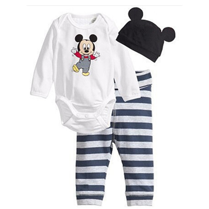 2018 Baby Rompers Long Sleeve Cotton Romper Baby Infant Cartoon Animal Newborn Baby Clothes Romper+hat+pants 3pcs Clothing Set