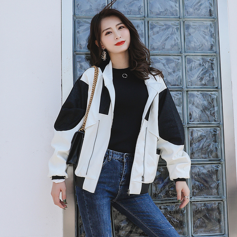 Autumn and winter new black and white stitching loose thin short motorcycle leather jacket Q119