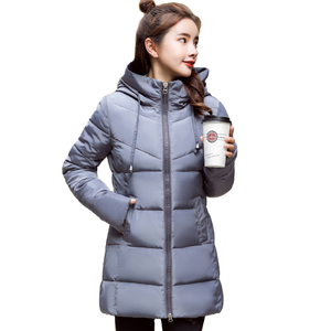Image 2 - Stand Collar Hooded Women Winter Jacket Slim Cotton Padded Winter Womens Jackets Long Female Coats Parkas Chaqueta Mujer