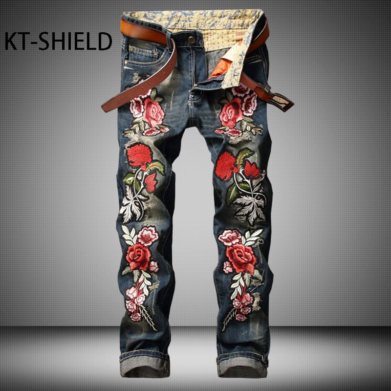 3D printed embroidered flower skinny jean mens Fashion denim overalls biker Hip hop hombre cargo trousers calca jeans masculina ripped distressed jean hombre slim fit denim overalls fashion mens biker casual hip hop long trousers calca jeans masculina