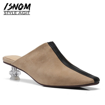 ISNOM Kid Suede Slippers Woman Pointed Toe Footwear Unusual Heel High Female Slides Shoes Mules Shoes Women 2019 New Summer