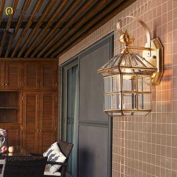 Full copper wall lamp European style retro garden lamp waterproof balcony wall light Corridor Courtyard Lamp