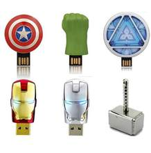 Hot USB 2.0 Flash super Vingadores Pen Drive GB GB 32 16 8 GB 64 GB Homem De Ferro da América hulk capitão Martelo USB Flash Memory Stick(China)
