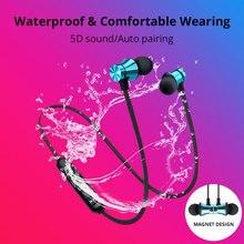 Магнитная аттракционная Беспроводная bluetooth-гарнитура с шумоподавлением, водонепроницаемые спортивные наушники с микрофоном для Meizu Xiaomi sony