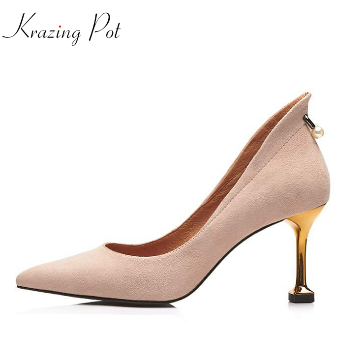 Krazing Pot sheep suede mature slip on pumps pointed toe metal fasteners pearl concise thin high heels brand leather shoes L15 krazing pot empty after shallow shoes woman lace work flats pointed toe slip on sheep suede causal summer outside slippers l16