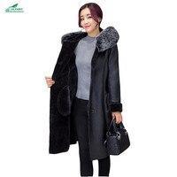 Европейская зимняя новая кожаная верхняя одежда больших размеров 7XL Женская Высококачественная модная Толстая мм с капюшоном Мех меховой в