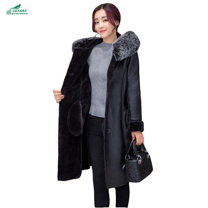 Новые европейские зимние Большие размеры 7XL кожаная верхняя одежда женщин высокой моды жира мм с капюшоном меховой воротник пальто с мехом ...