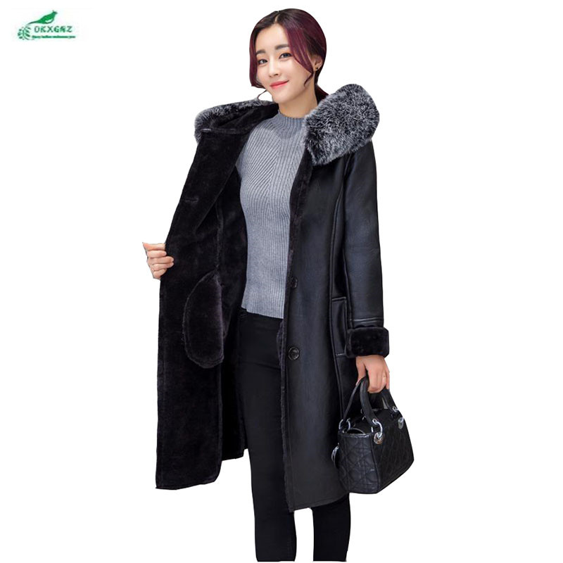 European winter new Plus size 7XL   leather   Outerwear women high-end fashion fat MM hooded fur collar fur coat women OKXGNZ Q1050