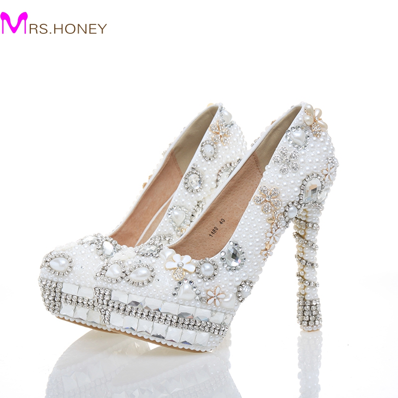 Handmade Genuine Leatwher Rhinestone Wedding Shoes White Pearl Bridal Dress Shoes Women High Heels for Homecoming Size 34-43 aidocrystal luxurious handmade pearl crystal diamond wedding shoes white bridal low heel dress high heels