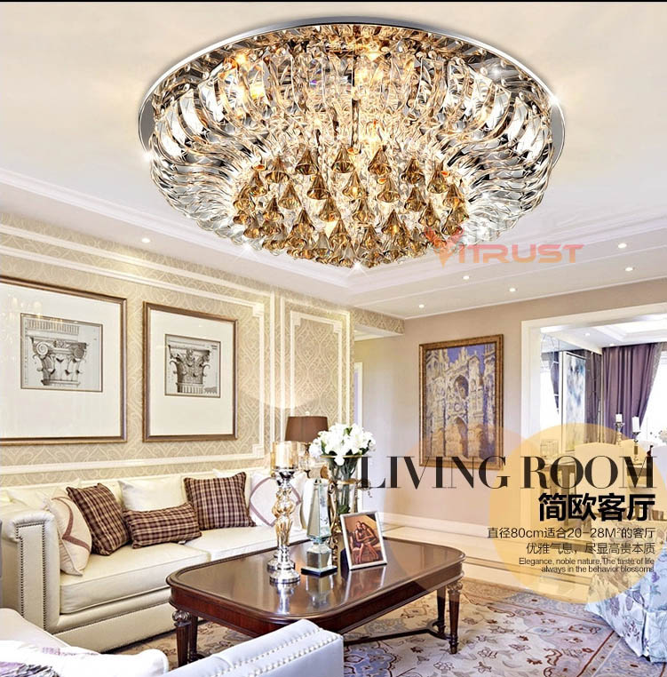 Living Room Lamp Crystal Lamp Round Ceiling Lamp Led Modern Minimalist Atmosphere European Bed Restaurant Lamp Complete Range Of Articles Ceiling Lights & Fans